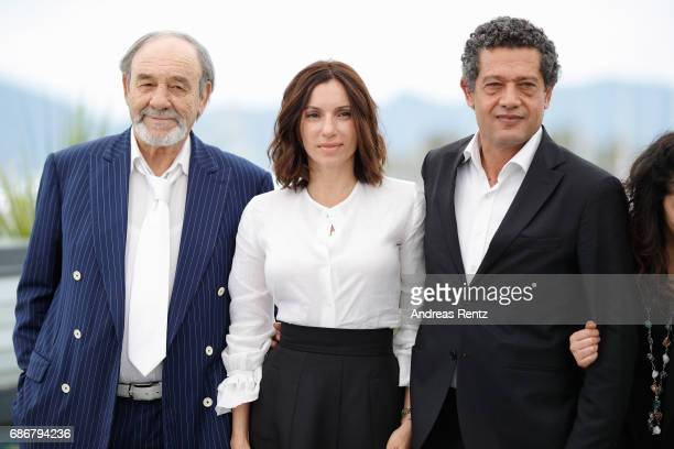 Mohamed Djouhri Aure Atika Hassan Kachach and Hania Amar attend 'Waiting For Swallows ' photocall during the 70th annual Cannes Film Festival at...