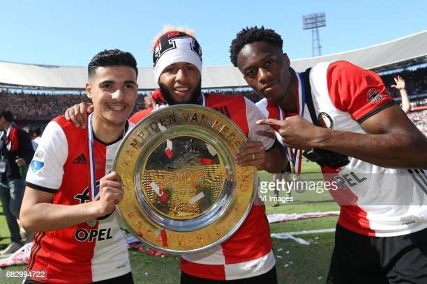 Mohamed El Hankouri of Feyenoord Tonny Vilhena of Feyenoord Terence Kongolo of Feyenoordduring the Dutch Eredivisie match between Feyenoord Rotterdam...