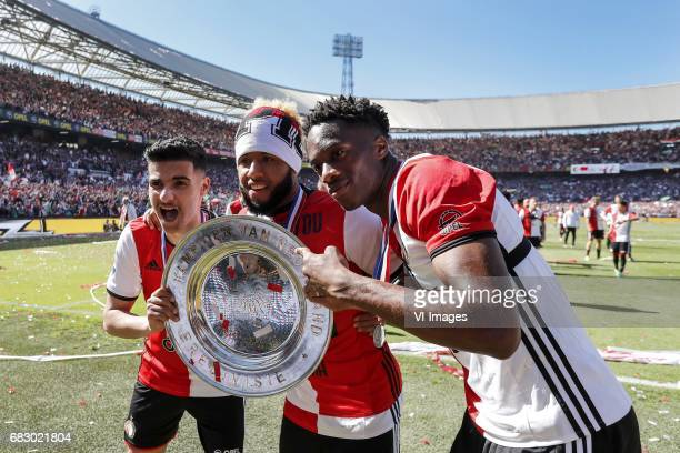 Mohamed El Hankouri of Feyenoord Tonny Vilhena of Feyenoord Terence Kongolo of Feyenoord with the tropheeduring the Dutch Eredivisie match between...