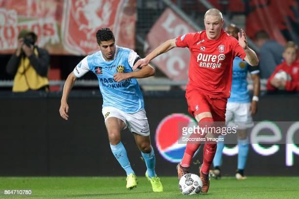 Mohamed El Makrini of Roda JC Fredrik Jensen of FC Twente during the Dutch Eredivisie match between Fc Twente v Roda JC at the De Grolsch Veste on...
