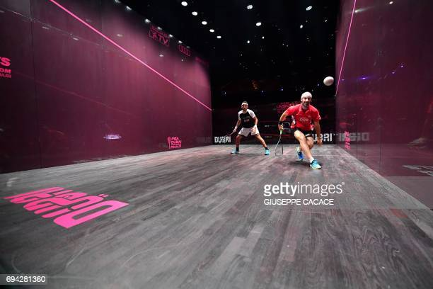 Mohamed El Shorbagy of Egypt competes against Simon Rosner of Germany during the semifinals of the PSA Dubai World Series Finals 2017 at Dubai Opera...