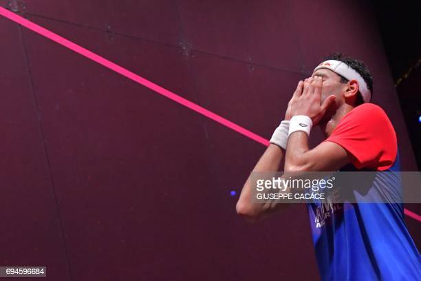Mohamed El Shorbagy of Egypt reacts after winning the finals of the PSA Dubai World Series Finals 2017 at Dubai Opera on June 10 2017 in Dubai United...