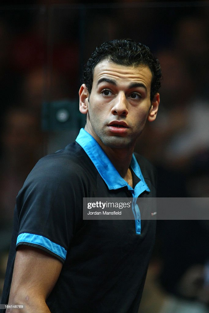 Mohamed El Shorbagy of Egypt warms up ahead of his quarter-final match in the Canary Wharf Squash Classic on March 20, 2013 in London, England.