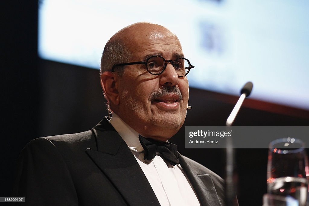 <a gi-track='captionPersonalityLinkClicked' href=/galleries/search?phrase=Mohamed+ElBaradei&family=editorial&specificpeople=533018 ng-click='$event.stopPropagation()'>Mohamed ElBaradei</a> attends the Cinema for Peace Gala ceremony at the Konzerthaus Am Gendarmenmarkt during day five of the 62nd Berlin International Film Festival on February 13, 2012 in Berlin, Germany.