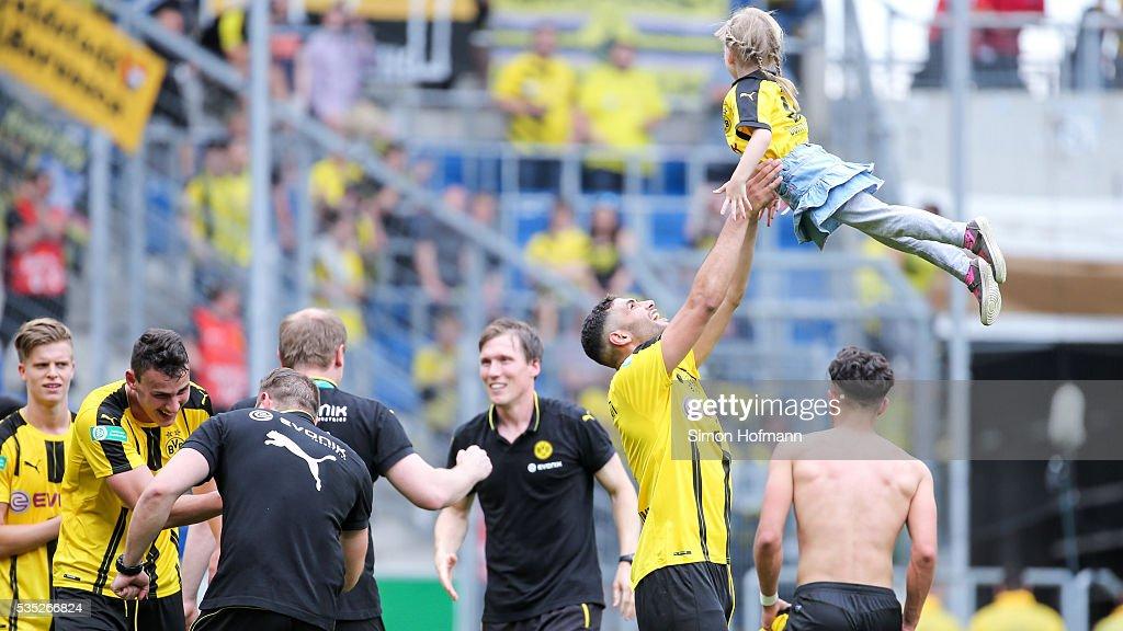 Mohamed El-Bouzzati of Dortmund celebrates after the A Juniors German Championship Final match between 1899 Hoffenheim U19 and Borussia Dortmund U19 at Wirsol Rhein-Neckar-Arena on May 29, 2016 in Sinsheim, Germany.