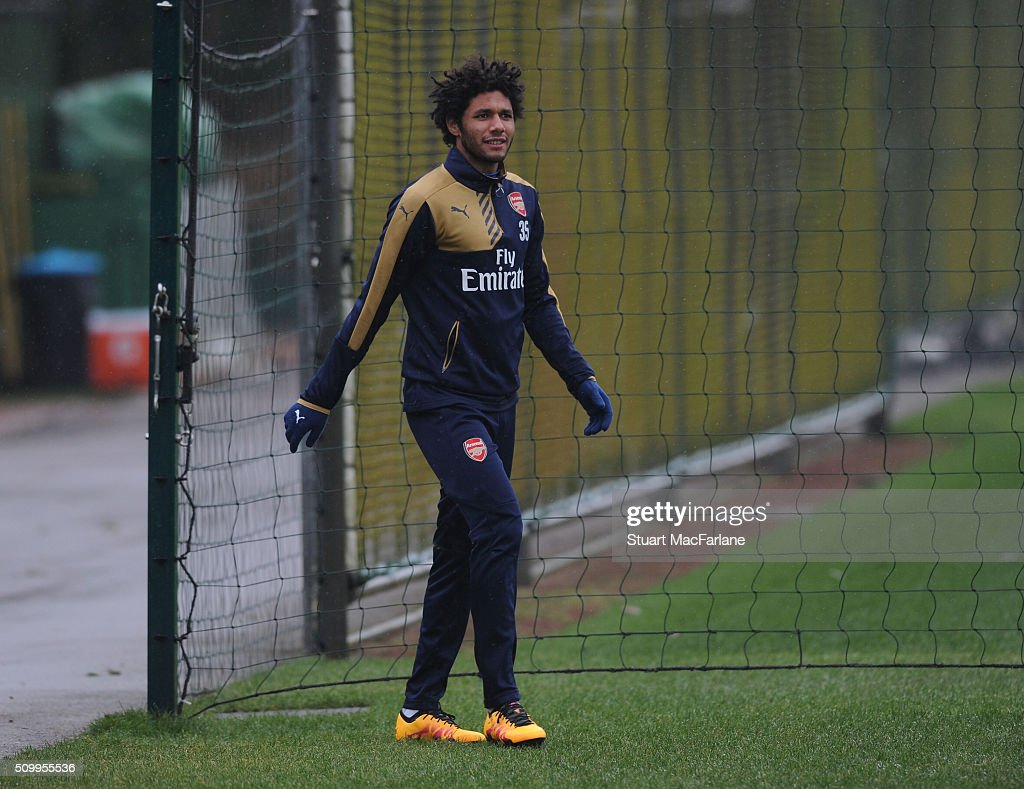 Mohamed Eleney of Arsenal before a training session at London Colney on February 13, 2016 in St Albans, England.