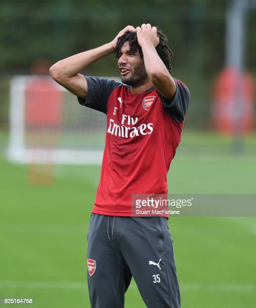 Mohamed Eleney of Arsenal during a training session at London Colney on August 1 2017 in St Albans England