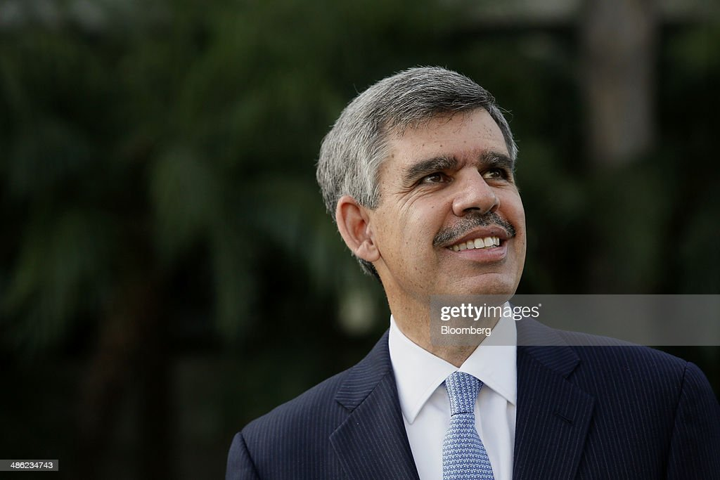 Mohamed El-Erian, former chief executive officer of Pacific Investment Management Co. (PIMCO), stands for a photograph after a Bloomberg Television interview in Irvine, California, U.S., on Wednesday, April 23, 2014. El-Erian, chief economic adviser to Allianz SE, described Bill Gross as one of the worlds best investors in his first television interview since leaving the bond investment firm in March. Photographer: Patrick T. Fallon/Bloomberg via Getty Images