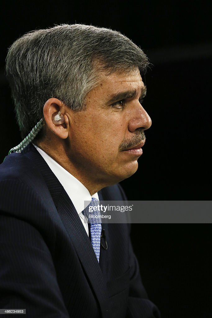 Mohamed El-Erian, former chief executive officer of Pacific Investment Management Co. (PIMCO), listens before a Bloomberg Television interview in Irvine, California, U.S., on Wednesday, April 23, 2014. El-Erian, chief economic adviser to Allianz SE, described Bill Gross as one of the worlds best investors in his first television interview since leaving the bond investment firm in March. Photographer: Patrick T. Fallon/Bloomberg via Getty Images