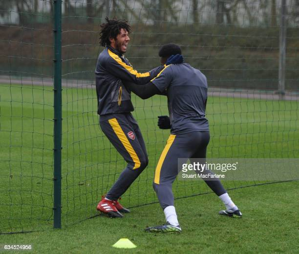 Mohamed Elneny and Danny Welbeck of Arsenal during a training session at London Colney on February 10 2017 in St Albans England