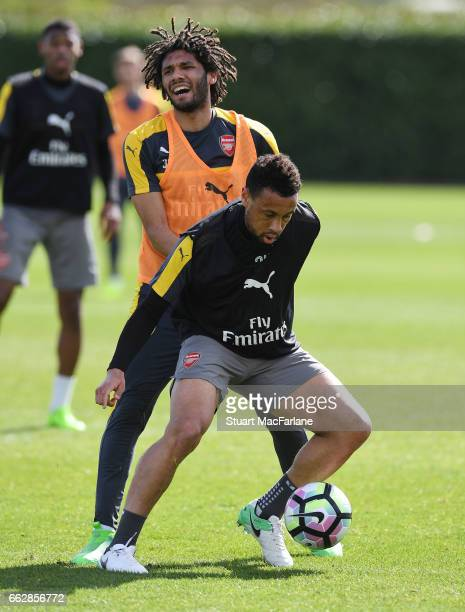 LR0 Mohamed Elneny and Francis Coquelin of Arsenal during a training session at London Colney on April 1 2017 in St Albans England
