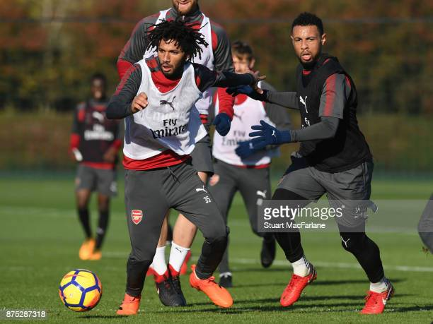Mohamed Elneny and Francis Coquelinof Arsenal during a training session at London Colney on November 17 2017 in St Albans England