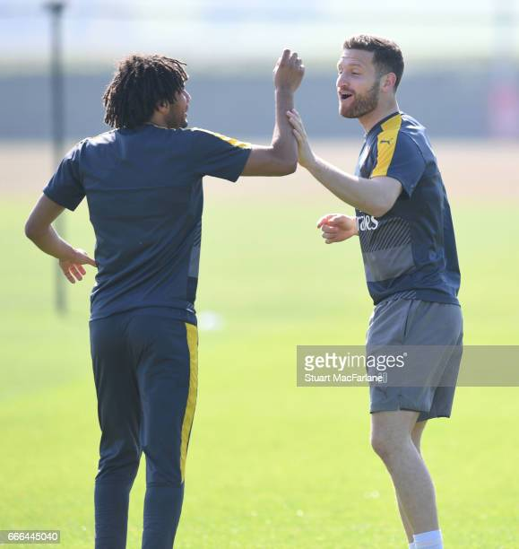 Mohamed Elneny and Shkodran Mustafi of Arsenal during a training session at London Colney on April 9 2017 in St Albans England