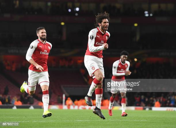 Mohamed Elneny celebrates scoring the 6th Arsenal goal during the UEFA Europa League group H match between Arsenal FC and BATE Borisov at Emirates...