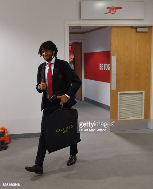 Mohamed Elneny in the Arsenal changing room before the Premier League match between Arsenal and Brighton and Hove Albion at Emirates Stadium on...