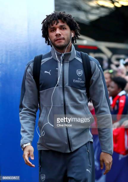 Mohamed Elneny of Arsenal arrives prior to the Premier League match between Crystal Palace and Arsenal at Selhurst Park on April 10 2017 in London...