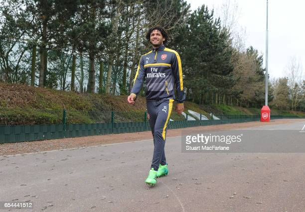 Mohamed Elneny of Arsenal before a training session at London Colney on March 17 2017 in St Albans England