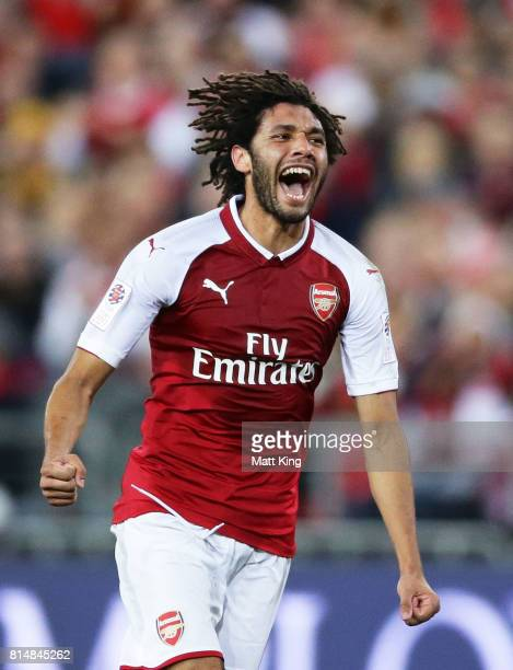 Mohamed Elneny of Arsenal celebrates scoring a goal during the match between the Western Sydney Wanderers and Arsenal FC at ANZ Stadium on July 15...