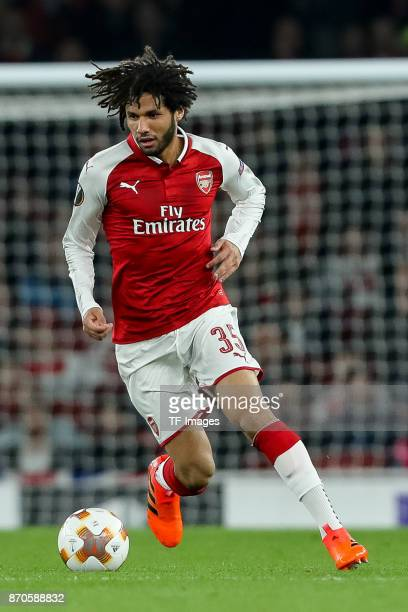 Mohamed Elneny of Arsenal controls the ball during UEFA Europa League Group H match between Arsenal and Red Star Belgrade at The Emirates London 2...
