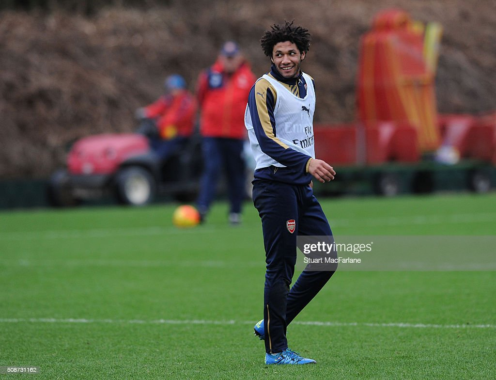 Mohamed Elneny of Arsenal during a training session at London Colney on February 6, 2016 in St Albans, England.