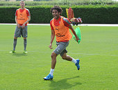 Mohamed Elneny of Arsenal during a training session at London Colney on July 21 2016 in St Albans England
