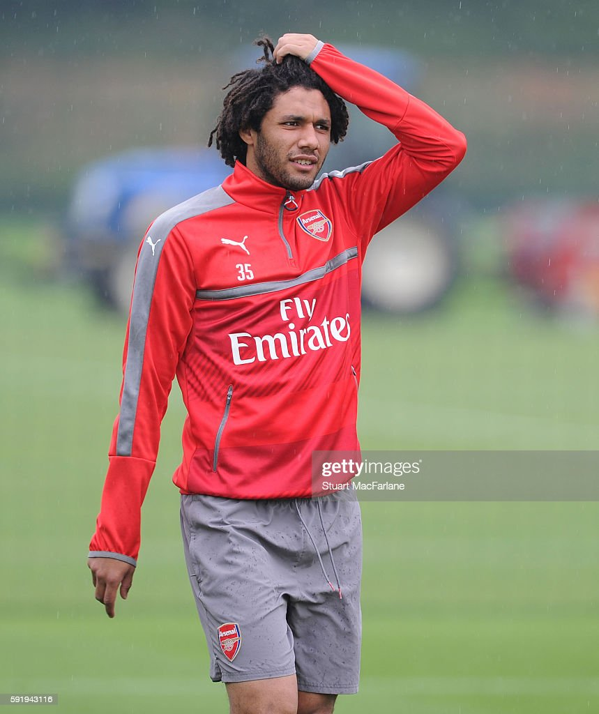 Mohamed Elneny of Arsenal during a training session at London Colney on August 19 2016 in St Albans England