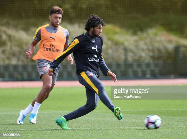 Mohamed Elneny of Arsenal during a training session at London Colney on April 16 2017 in St Albans England