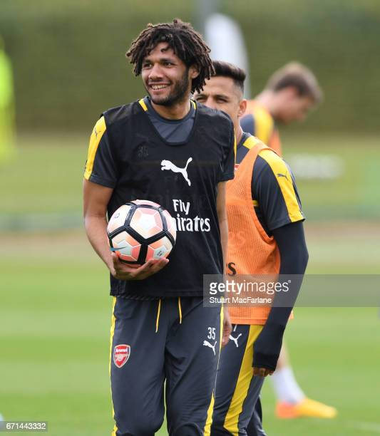 Mohamed Elneny of Arsenal during a training session at London Colney on April 22 2017 in St Albans England