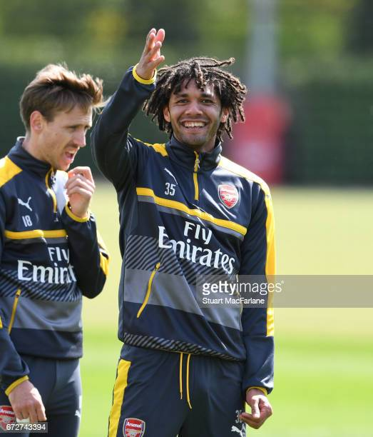 Mohamed Elneny of Arsenal during a training session at London Colney on April 25 2017 in St Albans England