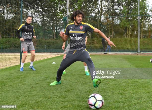 Mohamed Elneny of Arsenal during a training session at London Colney on May 20 2017 in St Albans England
