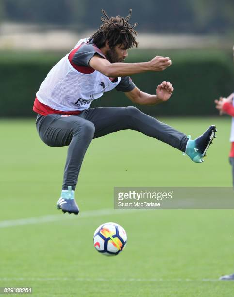 Mohamed Elneny of Arsenal during a training session at London Colney on August 10 2017 in St Albans England
