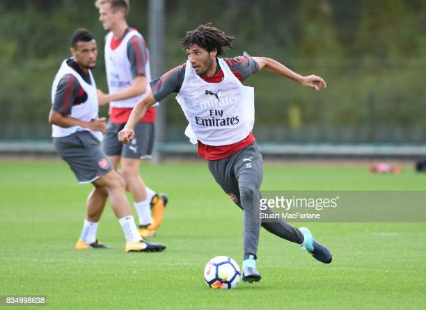 Mohamed Elneny of Arsenal during a training session at London Colney on August 18 2017 in St Albans England