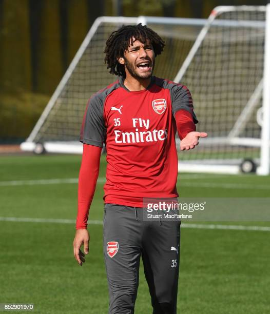 Mohamed Elneny of Arsenal during a training session at London Colney on September 24 2017 in St Albans England