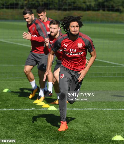 Mohamed Elneny of Arsenal during a training session at London Colney on September 30 2017 in St Albans England