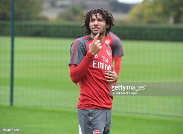 Mohamed Elneny of Arsenal during a training session at London Colney on October 13 2017 in St Albans England