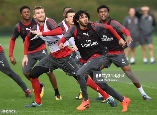 Mohamed Elneny of Arsenal during a training session at London Colney on October 21 2017 in St Albans England