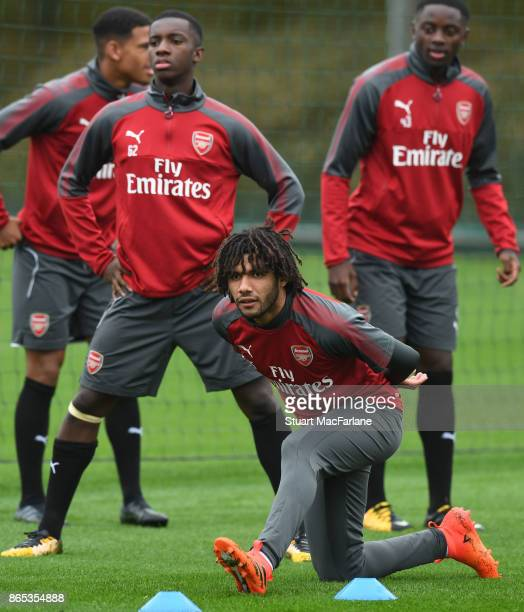Mohamed Elneny of Arsenal during a training session at London Colney on October 23 2017 in St Albans England