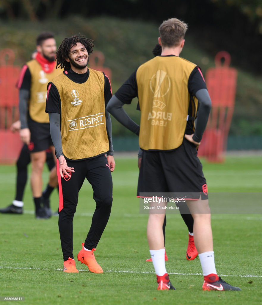 Mohamed Elneny of Arsenal during a training session at London Colney on November 1, 2017 in St Albans, England.