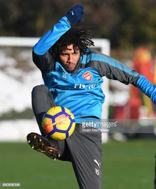Mohamed Elneny of Arsenal during a training session at London Colney on December 12 2017 in St Albans England