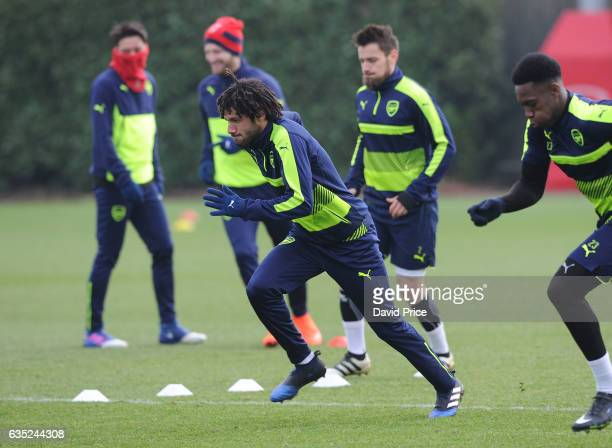 Mohamed Elneny of Arsenal during the Arsenal Training Session at London Colney on February 14 2017 in St Albans England