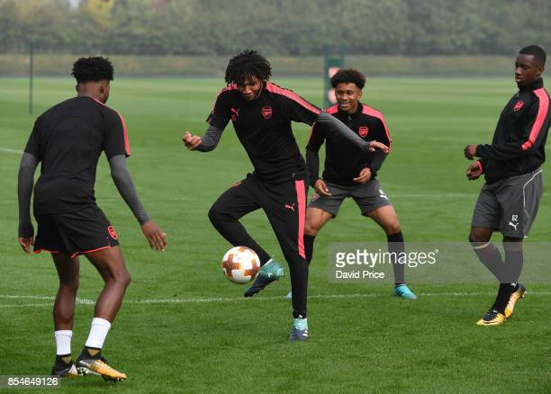 Mohamed Elneny of Arsenal during the Arsenal Training Session at London Colney on September 27 2017 in St Albans England