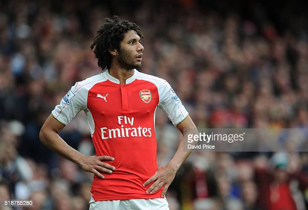 Mohamed Elneny of Arsenal during the Barclays Premier League match between Arsenal and Watford at Emirates Stadium on April 2nd 2016 in London England