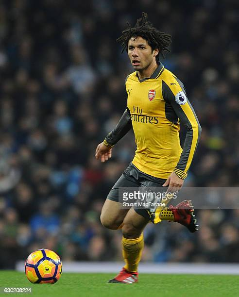 Mohamed Elneny of Arsenal during the Premier League match between Manchester City and Arsenal at Etihad Stadium on December 18 2016 in Manchester...