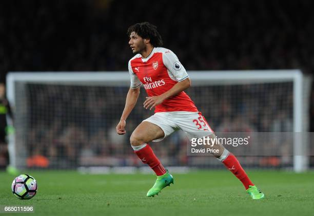 Mohamed Elneny of Arsenal during the Premier League match between Arsenal and West Ham United at Emirates Stadium on April 5 2017 in London England
