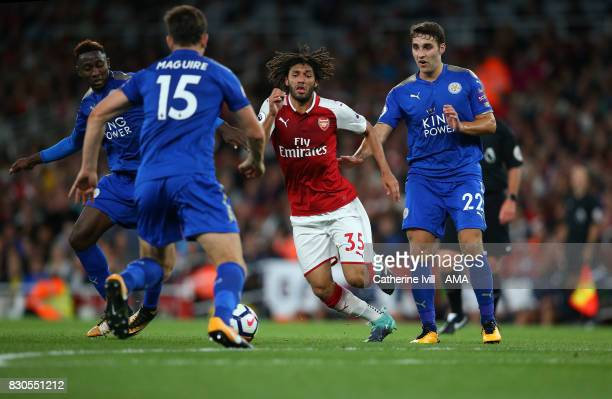 Mohamed Elneny of Arsenal during the Premier League match between Arsenal and Leicester City at Emirates Stadium on August 11 2017 in London England