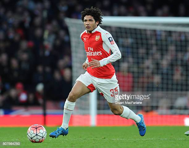 Mohamed Elneny of Arsenal during the The Emirates FA Cup Fourth Round match between Arsenal and Burnley at Emirates Stadium on January 30 2016 in...