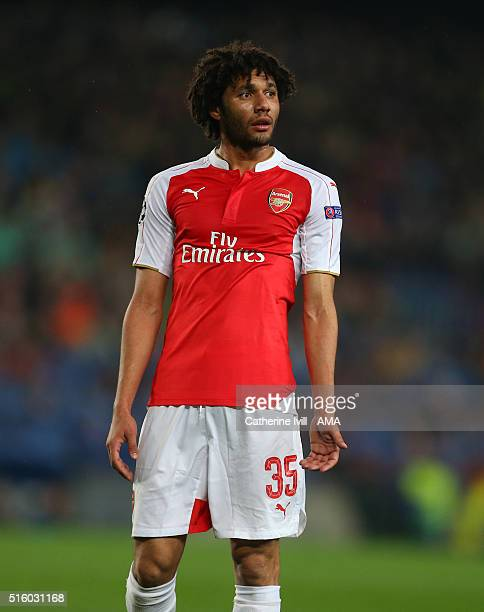 Mohamed Elneny of Arsenal during the UEFA Champions League match between FC Barcelona and Arsenal at Camp Nou on March 16 2016 in Barcelona Spain