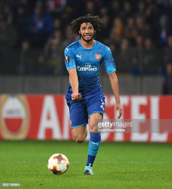 Mohamed Elneny of Arsenal during the UEFA Europa League group H match between BATE Borisov and Arsenal FC at BorisovArena on September 28 2017 in...