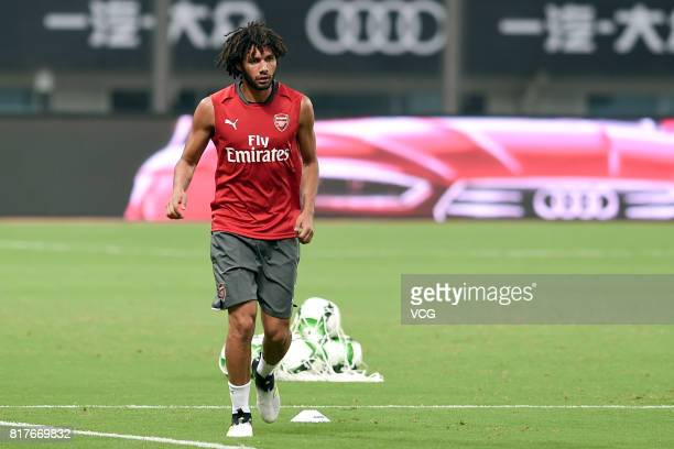 Mohamed Elneny of Arsenal FC attends a training session ahead of 2017 International Champions Cup football match between Bayern Munich and Arsenal on...