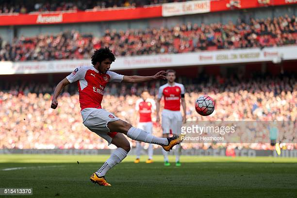 Mohamed Elneny of Arsenal fires a shot over the bar during The Emirates FA Cup Sixth Round match between Arsenal and Watford at the Emirates Stadium...